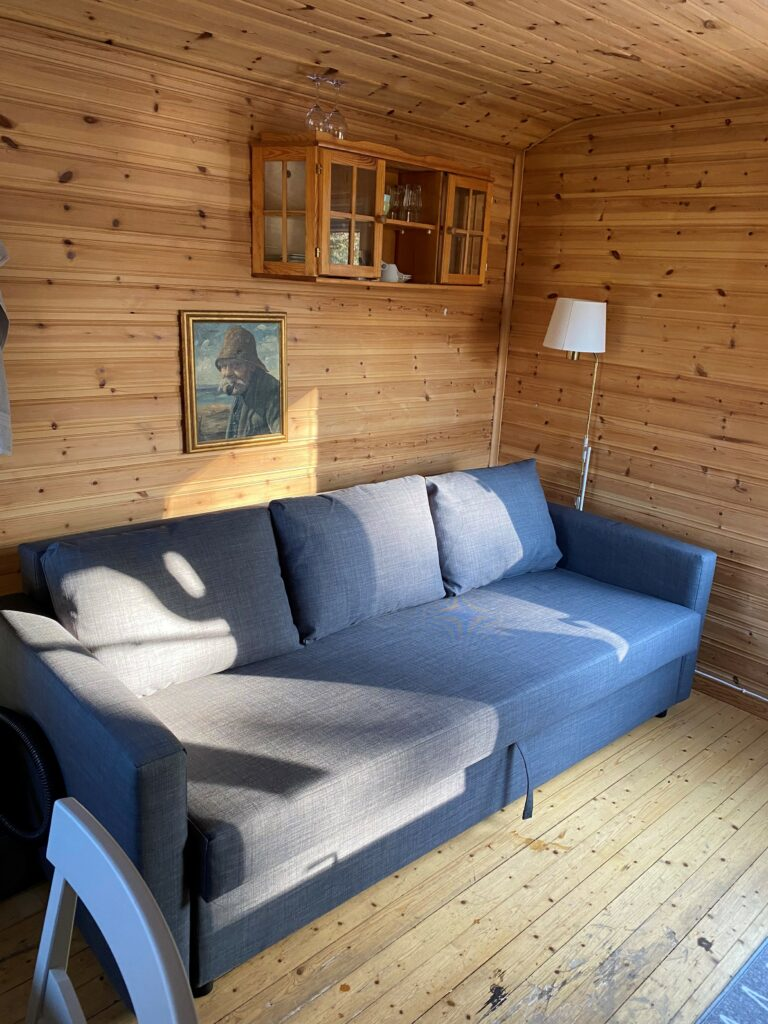 Sofa bed in overnight-cottage
