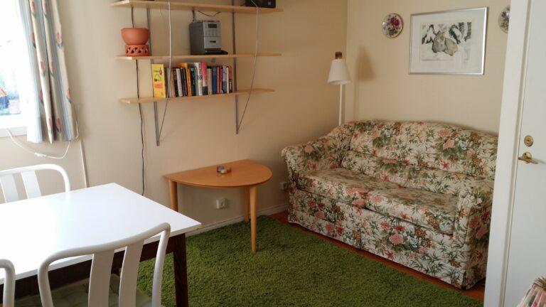 A flowery sofa
