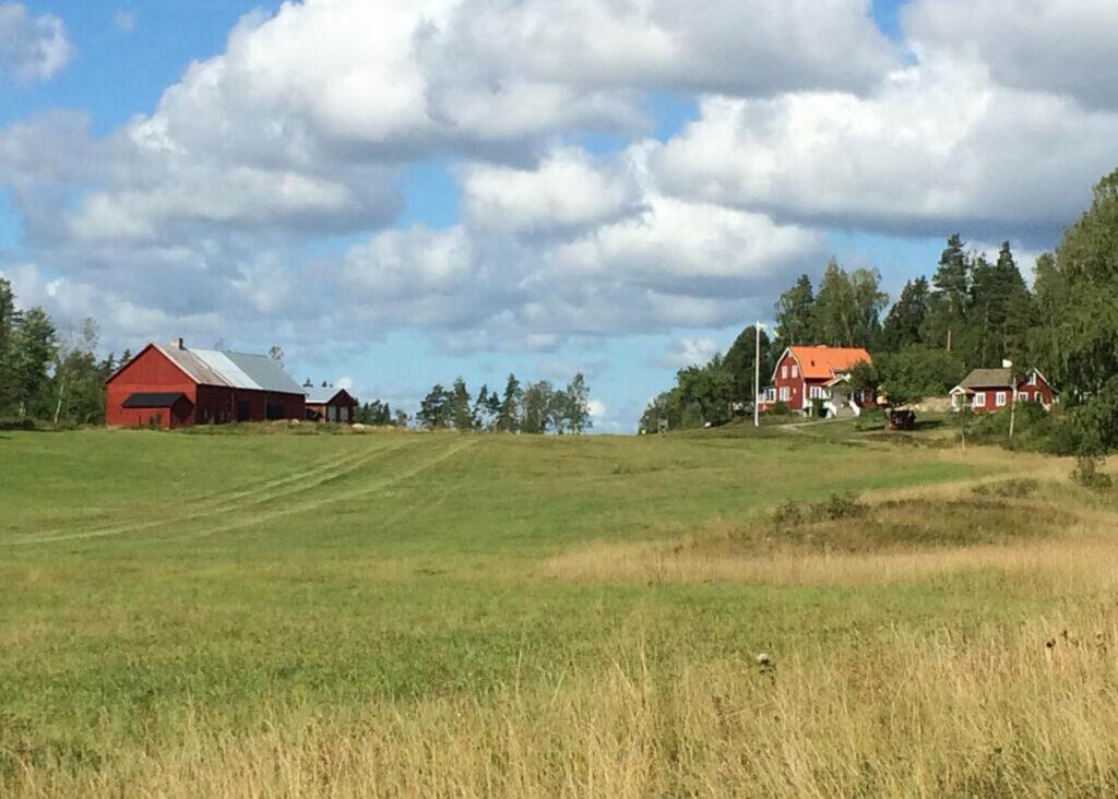 En lada och två röda hus vid åker/View over fields and a farm