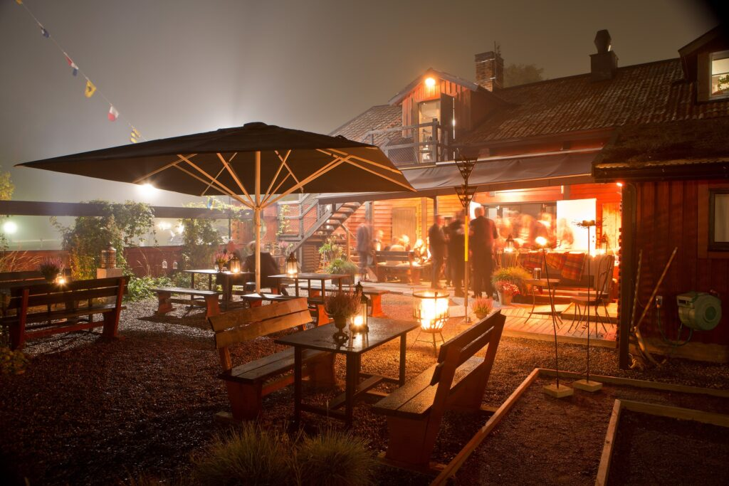 Restaurant in the evening, with fires