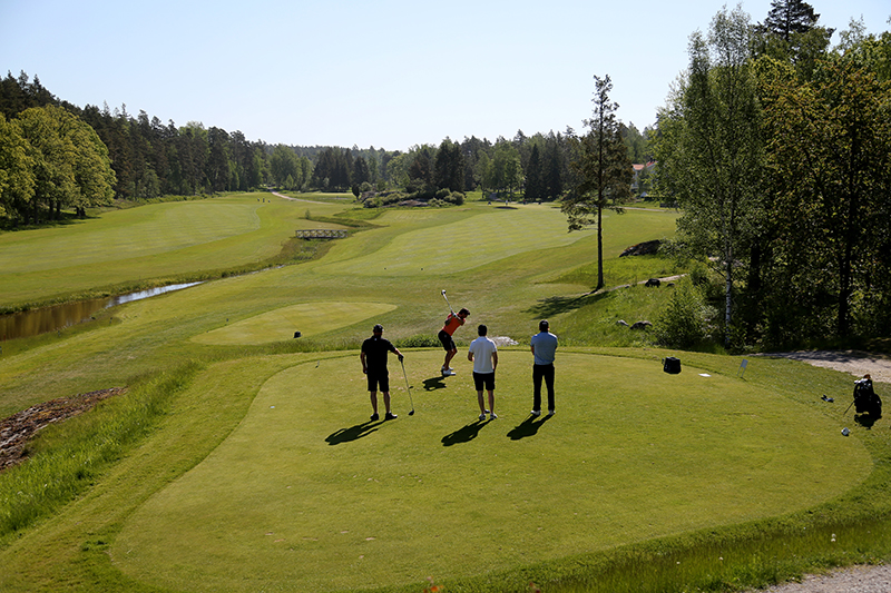 Four people playing golf